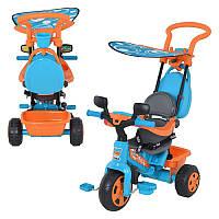 Велосипед 800003923 (3шт) с ручкой, 3-х колесный, крыша, оранжево-голубой, в кор-ке, 70-48,5-62см
