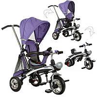 Велосипед M 3212A-2 (1шт)три кол.резина,трансформер(беговел),поворот,быстросъем.колеса,фиолетовый