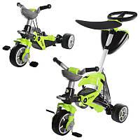 Велосипед 328 (1шт) три колеса,трансформ,2в1,зеленый,корзина,крыша,107-97-53см,в кор-ке,60-45-26см