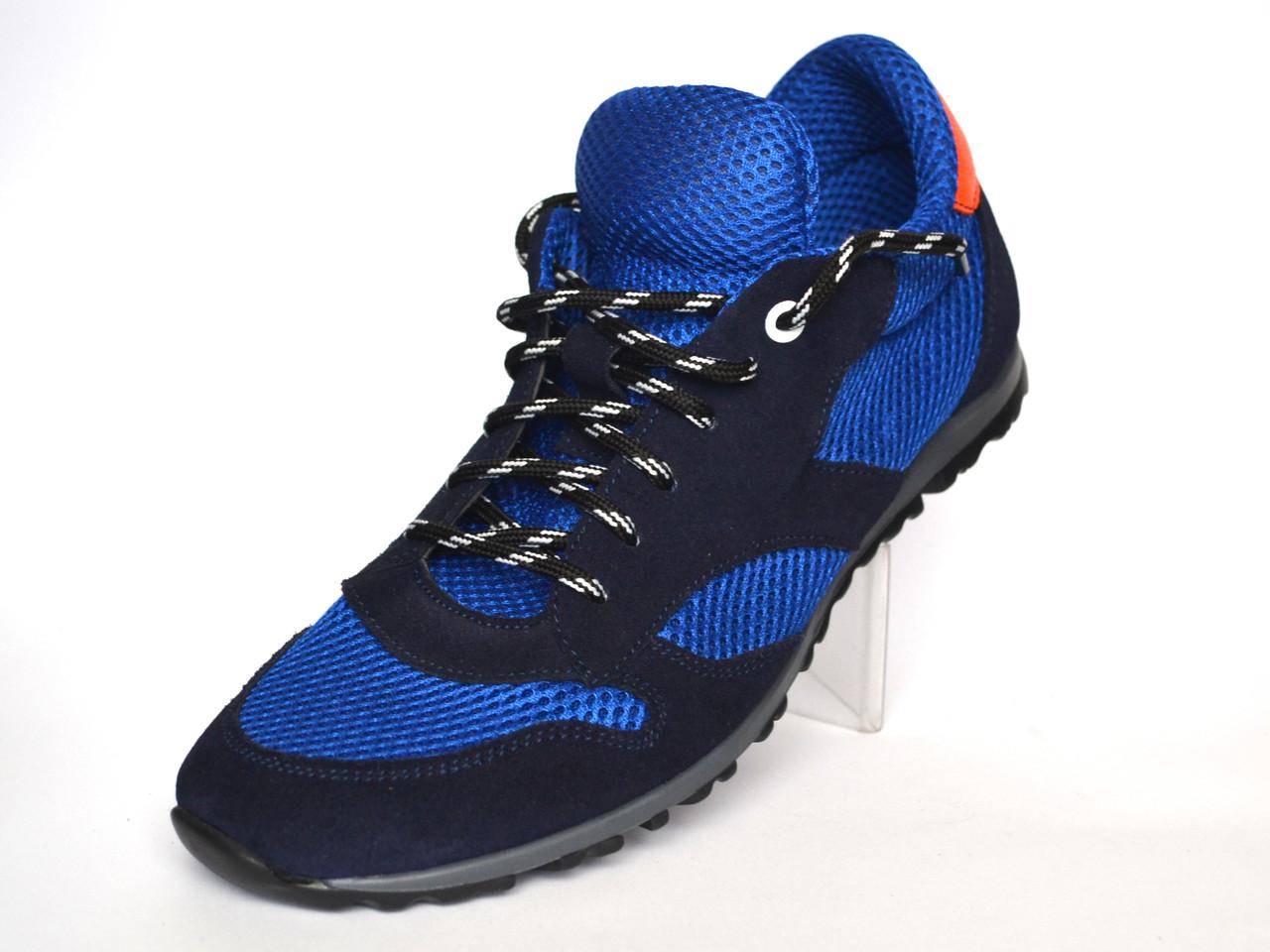 Летние кроссовки сникерсы мужские в сеточку с кожаными вставками Rosso Avangard Riddo Blu синие