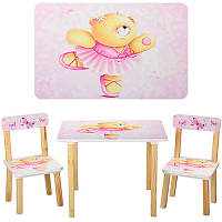 Столик 501-23 (1шт) деревянный, 60-40см, 2 стульчика, розовый, мишка, в кор-ке,