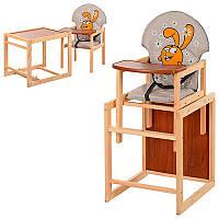 Стульчик М V-010-26-3 (1шт) для кормления,трансф,43-96-45см,рем.безоп,бол.спинк,дерев,серый,заяц(СШ)