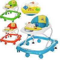 Ходунки 5213 (6шт) муз,колеса7шт6см,стопоры2шт,3положения высоты,бат,3цв(оранж,голубые,зеленые)