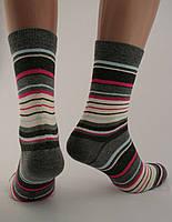 Носки женские разноцветные хлопок темно-серые в разноцветную полоску Ж-900019
