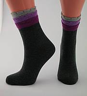 Носки женские разноцветные хлопок темно-серые с оригинальной трёхъярусной резинкой Ж-900020
