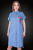 Платье - рубашка лен.  Цвет голубой. Размер  54    .Код 578. Хмельницкий, фото 1
