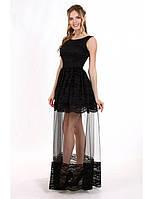 Шикарное вечернее платье макси с кружевом шантильи и вставкой из сетки. Разные цвета и размеры. Розница, опт.
