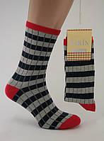 Носки женские разноцветные хлопок светло-серые в темную полоску с красными пяткой и мыском Ж-900022