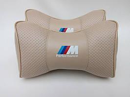 "Подушки на подголовник в авто ""Марка авто"" BMW M Perfomwns беж.(перфорированная)"