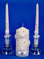 """Свечи свадебные  """"Семейный очаг"""" белые стразы спираль"""