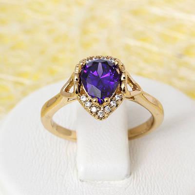 R1-2426 - Позолоченное кольцо с фиолетовым и прозрачными фианитами, 16, 17 р.