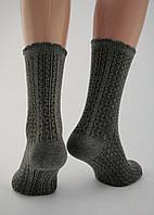 Носки женские разноцветные хлопок серые с орнаментом и оригинальной волнистой резинкой Ж-900024