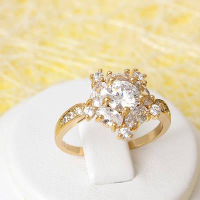 002-2394 - Позолоченное кольцо с прозрачными фианитами, 18 р.