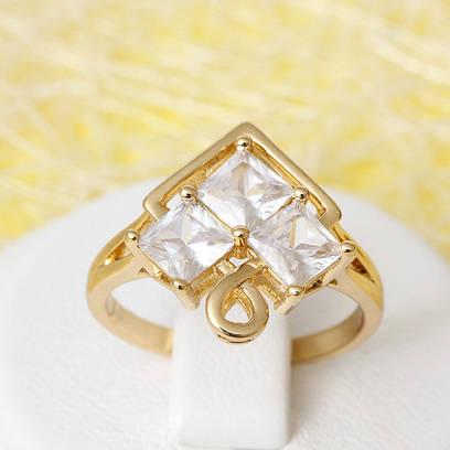 002-2388 - Позолоченное кольцо с прозрачными фианитами, 16.5, 18, 18.5 р.