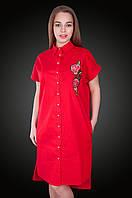 Платье - рубашка лен.  Цвет красный. Размер 56. Код 578. Хмельницкий