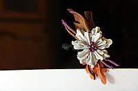 Заколка с белым цветком , фото 1