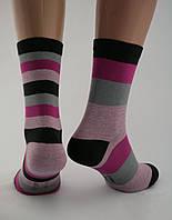 Носки женские хлопок разноцветные в полоску комплект из трёх пар Ж-900026