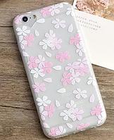 Силиконовый чехол с цветочками для iphone 6/6S