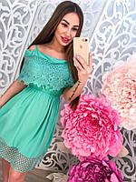 Женское летнее стильное платье с кружевом , фото 1