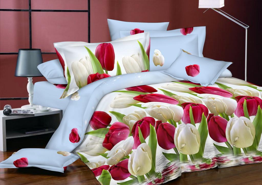 Двуспальный комплект постельного белья евро 200*220 сатин (7308) TM KRISPOL Украина