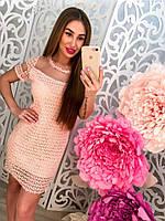 Женское модное платье из кружева с органзой (2 цвета), фото 1