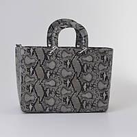 Женская сумка Dior серая змея