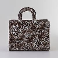 Женская сумка Dior леопард коричневый