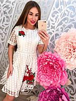 Женское красивое платье с органзой и вышивкой, фото 1