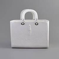 Женская сумка Dior крокодил белый