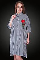 Полосатое платье с вышивкой. Размер 52, 54, 56, 58. Код 579. Хмельницкий