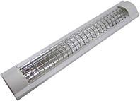 Светильник Lemanso 2x18 T8 две лампы серебро решетка (без ламп) LM918R
