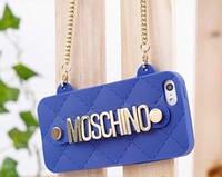 """Чехол Moschino """"Bag"""" для iPhone 4/4S, синий (силиконовый)"""