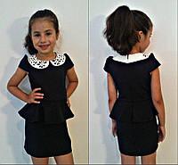 Сарафан школьный для девочек, воротник эко кожа, ткань мадонна, размеры 116.122,128,134,140 см