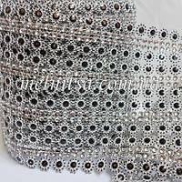 Шина с иммитацией  стразового полотна, комбинированная , 25х12см, цвет серебро