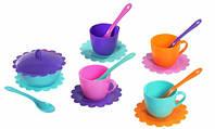 Ромашка Люкс набор посуды 16 предметов бирюзовая сахарница Тигрес (39088-1)