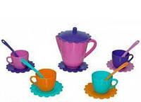 Ромашка Люкс с чайником 15 предметов розовый фиолетовый бирюзовый оранжевый Тигрес (39085-2)