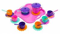 Ромашка набор посуды 26 предметов розовый поднос Тигрес (39093-2)