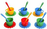 Ромашка Люкс набор посуды 18 предметов красный синий желтый зеленый Тигрес (39083-1)