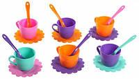Ромашка Люкс набор посуды 18 предметов розовый бирюзовый оранжевый фиолетовый Тигрес (39083-2)