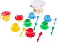 Ромашка набор посуды с желтым чайником в ведерке 23 предмета Тигрес (39120-1)