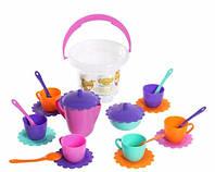 Ромашка набор посуды с розовым чайником в ведерке 23 предмета Тигрес (39120-2)