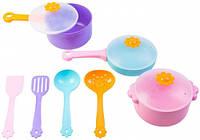 Ромашка набор столовой посуды 10 предметов с розовой кастрюлей Тигрес (39142-2)