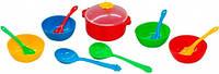 Ромашка набор столовой посуды 12 предметов с красной кастрюлей Тигрес (39143-1)