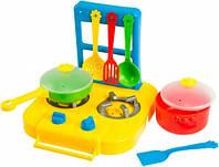 Набор игрушечной посуды столовый Ромашка с плитой желтой 7 элементов Тигрес (39150-1)