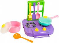 Набор игрушечной посуды столовый Ромашка с плитой фиолетовой 7 элементов Тигрес (39150-2)