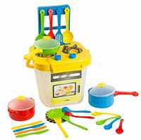 Ромашка набор игрушечной посуды столовый с желтой плитой 25 элементов Тигрес (39153-1)