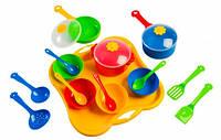 Ромашка набор столовой посуды 19 предметов с красной кастрюлей Тигрес (39146-1)