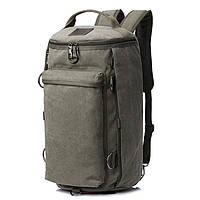 Универсальная сумка рюкзак мужская. Трансформер. Черный, хаки и зеленый. Брезент