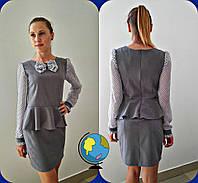 Платье школьное подростковое для девочек, ткань тиар+шифон, размеры 146,152,158 см