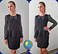 Платье школьное подростковое для девочек, ткань мадонна+шифон, размеры 146,152,158 см